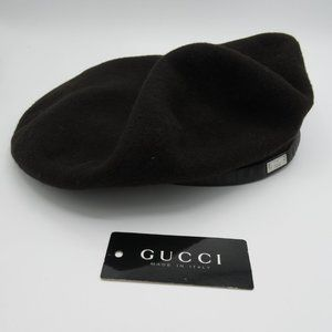 Gucci Wool & Leather Beret (M)